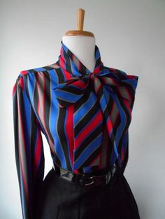 Flirty Vintage 1950s 1960s Atomic Rainbow Striped Long Sleeve Blouse w Ascot Tie Neck by bluebarnvintage on Etsy https://www.etsy.com/listing/267021084/flirty-vintage-1950s-1960s-atomic
