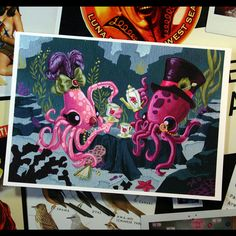 Eight Arms to Hold You | Octopus | Tentacle | Tea for Two - 7 x 5 inch Gentleman Octopus and Lady Squid Tea Party Archival Digital Print - Open Ended Printing