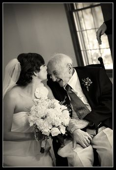 Some great senior photos in this collection-- love this one, of a bride and her grandpa! Wedding Kiss, Wedding Bells, Wedding Engagement, Dream Wedding, Wedding Day, Gold Wedding, Father Of The Bride, Father Daughter, Wedding Planning Tips