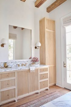 Spacious Bathroom light wood bathroom vanity and cabinets // hardwood floors // marble countertops - Marble Bathroom Dreams Bathroom Interior, Home Interior, Interior Office, Interior Livingroom, Design Bathroom, Interior Paint, Interior Decorating, Home Luxury, Luxury Houses