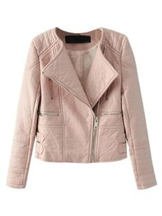 Shop Peach Collarless Leather Look Biker Jacket With Zipper Detail from choies.com .Free shipping Worldwide.