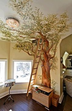 Adorable children's bedroom with painted wall and loft with ladder