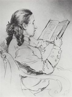 Portrait of E.G. Mamontova reading, 1879 by Ilya Repin. Realism. portrait