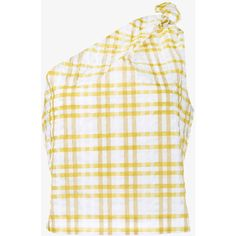 Rosie Assoulin Checked On Shoulder Top ($325) ❤ liked on Polyvore featuring tops, white tops, rosie assoulin and checkered top