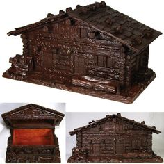 """Large Antique Black Forest Carved 12"""" Jewelry or Desk Box, a Rustic Log Cabin"""
