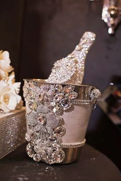 Glamour girls sparkle, so why shouldn't their ice buckets and champagne bottles. (Our bling champagne bucket Bling Bottles, Glitter Make Up, Glitz And Glam, All That Glitters, Bottle Crafts, Bottle Art, Bling Bling, Fancy, Gifts