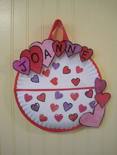 Paper Plate Heart Valentines Holder  Siblings Parents and Note