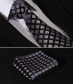 TC242V8-Navy-Orange-Check-3-4-Silk-Lots-Wedding-Gravata-Classic-Jacquard-Mans-Tie-Necktie-Pocket.jpg