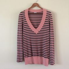 Splendid Waffle Knit Striped Top Deep v-neck, waffle knit, super soft!    • no paypal • no trades • no offers please - prices are firm • ask questions before buying • smoke free home • 20% discount on bundles • Splendid Tops Tees - Long Sleeve