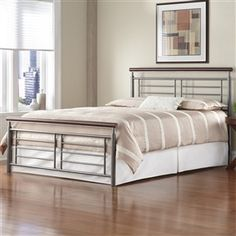 King size Contemporary Metal Bed in Silver and Cherry Finish