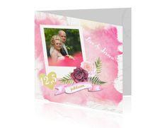 Jubileum feest uitnodiging 12,5 jaar getrouwd roze verf en foto
