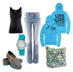 """""""turquoise"""" by jeanie236 ❤ liked on Polyvore featuring TOMS, H&M, Victoria's Secret, Vera Bradley, Collezio, women's clothing, women, female, woman and misses"""