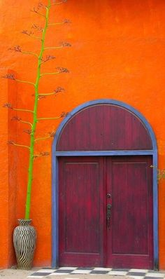 colorful doors: WRITERS PROMPT:I found him in Mexico, in a shabby orange stucco building. When I banged on the heavy wooden door, it. Cool Doors, The Doors, Unique Doors, Windows And Doors, Entry Doors, Front Doors, Door Knockers, Door Knobs, When One Door Closes