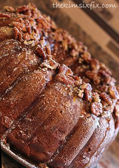 Apple Pecan Bundt Cake with Cream Cheese Filling via www.TheKimSixFix.com #TheKimSixFix