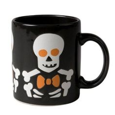Waechtersbach Skeleton on Black 12 Oz. Mugs - Set of 4