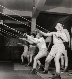 Roman Vishniac. '[Boys exercising in the gymnasium of the Jewish Community House of Bensonhurst, Brooklyn]' 1949