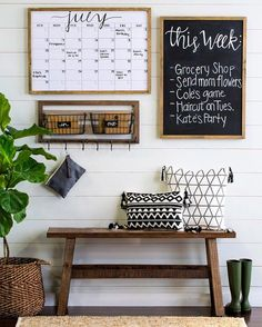 Living Room decor – rustic farmhouse style command center with wood bench, chalk… - Home Office Decoration Sweet Home, Diy Casa, Decoration Inspiration, Style Inspiration, Bedroom Inspiration, Style Ideas, Cool Ideas, Décor Ideas, Craft Ideas