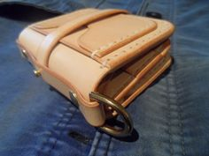 Veg tan leather wallet with solid brass by SleepingDogsLeather