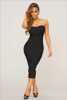 Serbreena Black Strapless Bandage Dress