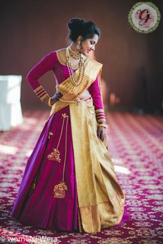 Midas Touch - A Super Gorgeous Bride, Rocking A Saree Lehenga With Glamorous Makeup Shopzters Lehenga Saree Design, Half Saree Lehenga, Lehenga Style, Saree Look, Saree Dress, Lehenga Designs, Half Saree Designs, Saree Blouse Designs, Mehndi Designs