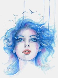50 Awesome and Mind blowing Watercolor Paintings For Your Inspiration! - Fine Art and You - Painting Art And Illustration, Art Illustrations, Watercolor Portrait Painting, Watercolor Face, Portrait Paintings, Oil Paintings, Watercolor Trees, Watercolor Landscape, Abstract Paintings
