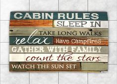 "Artist Marla Rae. 71""x72"" soft, good quality cabin shower curtain with words. Twelve 12 holes for hooks. Polyester. Machine washable. Made in U.S.A. Brown, green, blue, white."