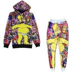 Womens Long Sleeve Simpson 3D Print Hooded Lined Sweatshirt Suit Pink ($45) ❤ liked on Polyvore featuring pink