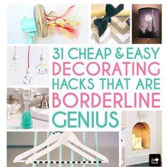 31 Cheap And Easy Decorating Hacks #Decor #Trusper #Tip