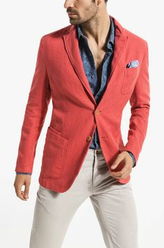 Massimo Dutti Man - Coral Tint Classic Jacket/Coat - Summer 2014