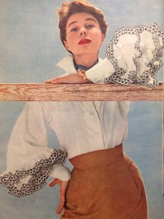 Hubert de Givenchy- 1952 Latin American inspired Bettina white linen blouse with black embroidered eyelet detail in a khaki wool pencil skirt. Elle Les Collections Printemps 1952- March 3, 1952