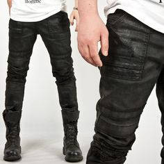 Avant-Garde Hardcore Wax Coated Slim Black Biker Jeans - 27