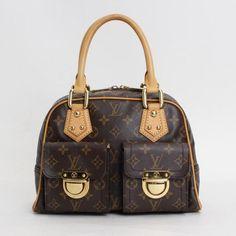 Louis Vuitton Manhattan PM Monogram Handle bags Brown Canvas M40026