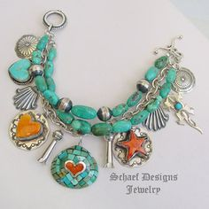 Schaef Designs Turquoise Spiny Oyster Bench Bead & Sterling Silver Charm Bracelet with Santa Domingo inlaid shell charm | Schaef Designs Southwestern & Turquoise Jewelry |  New Mexico