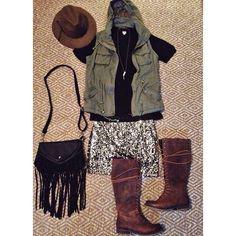 """OBSESSED With This Look // Deets:: 'Everyday VNeck'($19) - 'Lukin Vest'($41) - 'Northern Lights Sequin Skirt'($28) - 'Drifter Fringe Bag'($35) - 'Gold…"""