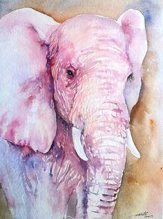 Original Watercolor Painting Elephant Portrait in Pink