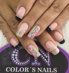 Nail Manicure, Pedicure, Cute Nails, Pretty Nails, Nail Colors, Nail Designs, Hair Beauty, Lily, Nail Art