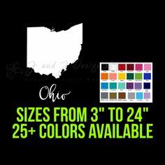 State of Ohio State Of Kansas, State Of Arizona, State Of Oregon, Custom Car Vinyl Decals, Car Decals, Sticker, Cornhole Decals, Yeti Decals, Window Decals