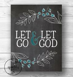Bible Verse Art print Let Go Let God wall art decor by SpoonLily, $16.00