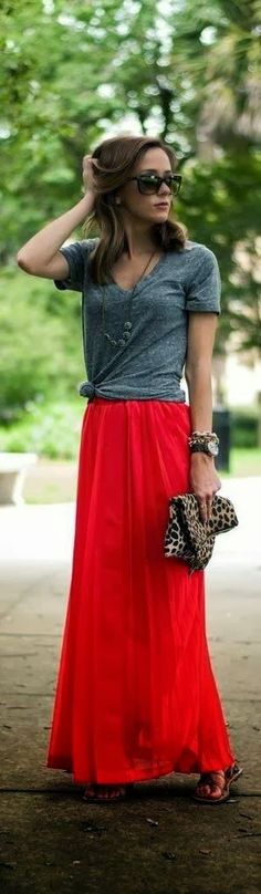 Grey t-shirt and red long skirt for spring