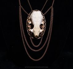 Victorian Inspired Real Mink Skull Necklace