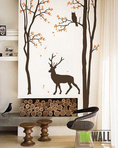 #home #decoration mural #arbol bosque, venado decoracion