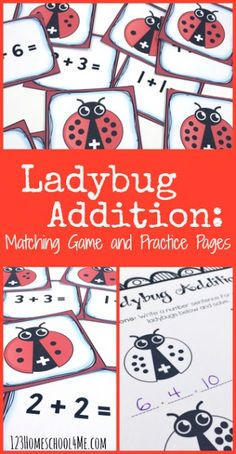FREE Ladybug Addition Math Game - this is such a fun math activities to help preschool, kindergarten, and first grade kids practice with a fun hands on addition game. This is also great for a math center. Perfect to help kids achieve math fluency
