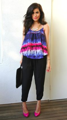 tie-dye top with black and then bright pink shoes. Cute for a nice summerday c: Harem Pants Outfit, Tie Dye Pants, Pink Shoes, Tye Dye, Kebaya, Viera, Dress Codes, Well Dressed, Bright Pink