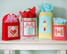 Handmade Gift Bags Pattern Download by Cotton Way available now at connectingthreads.com for just $9.00 »