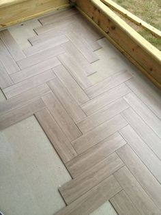 Tile For Screen Porch - Tiling, ceramics, marble - DIY Chatroom Home Improvement Forum click the image or link for more info. Herringbone Tile Floors, Faux Wood Tiles, Wood Tile Floors, Hardwood Floors, Herringbone Pattern, Wood Tile Pattern, Porch Tile, Porch Flooring, Floor Design