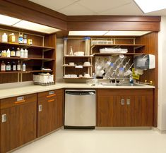 Modular pharmacy casework from RC Smith in compounding area of inpatient pharmacy including light cornices for excellent lighting.