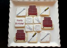 www.SoonerSugar.com, toolbox cookies, manly cookies, wrench cookies, red & grey cookies, tool chest cookies, mechanic cookies, nut & bolt cookies, guy birthday cookies, sooner sugar sugar cookies