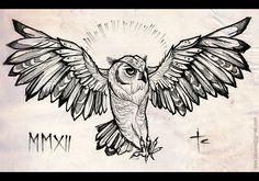 Alex Tabuns - owl in ink