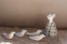 Porcelain sculptures 9 4 Bird friends ooak by erinswindow on Etsy Handmade Ceramic, Sculptures, Objects, Porcelain, Window, Pottery, Ceramics, Bird, Friends