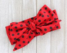 Red and black polka dot head wrap